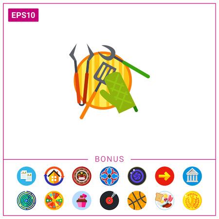 Barbecue tools icon Illustration