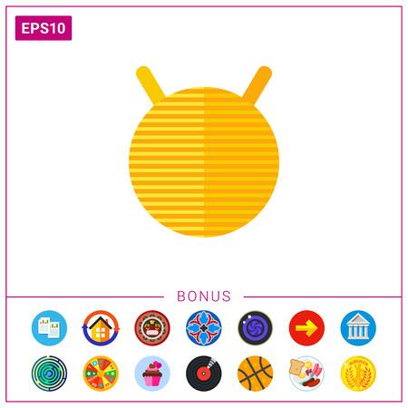 Big yellow fitness ball icon