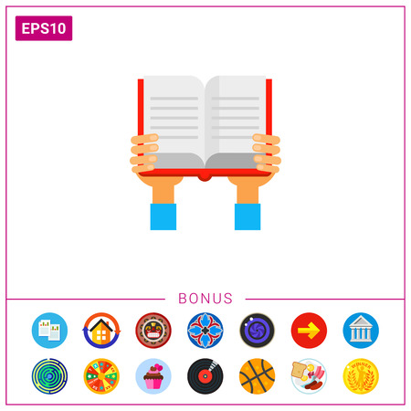 hand holding paper: Book in Hands Icon