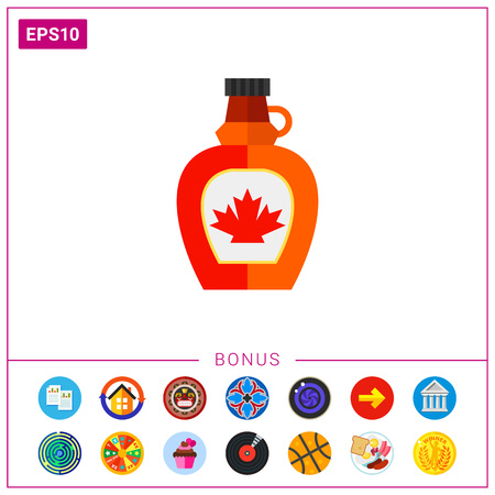 Bottle with maple syrup icon.