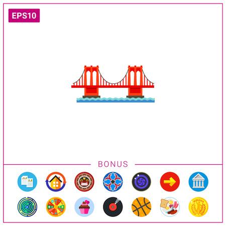 Brooklyn bridge icon. Illustration