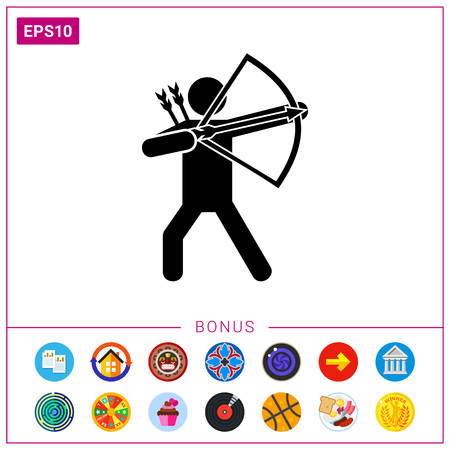 Bow man silhouette. Bow and arrows, sport, weapon. Bow man concept. Illustration