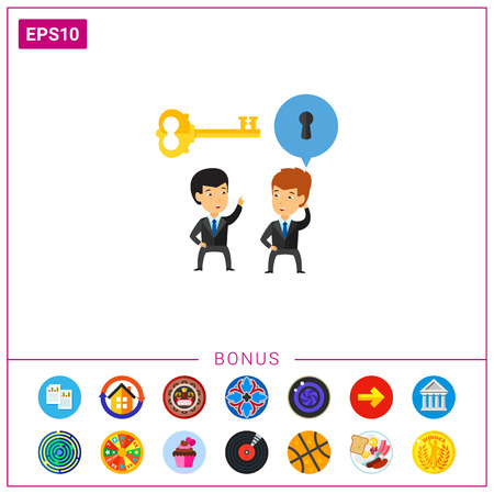 Businessmen giving solution to colleague, key and keyhole over them. Illustration