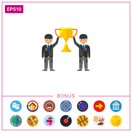 Businessmen holding teamwork cup icon Stock Vector - 76693684