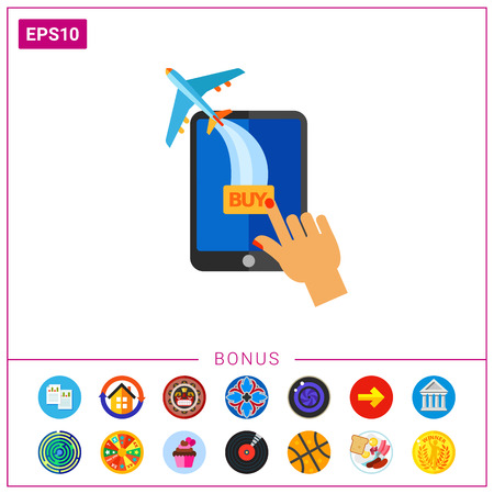 Human hand touching tablet computer and plane flying away. Buying ticket online, shopping online, technology. E-commerce concept. Can be used for topics like Internet, e-commerce, online shopping