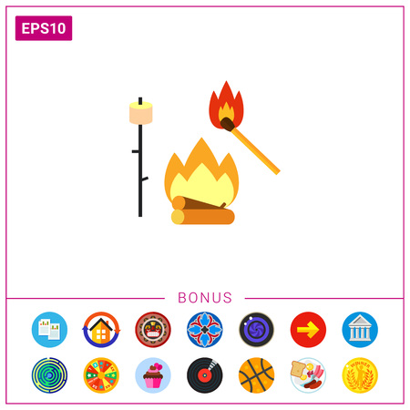 wooden stick: Campfire with Match and Marsh-mallow Icon