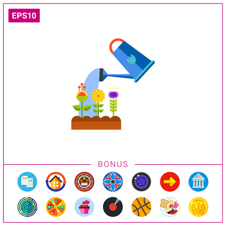 Watering flower vector icon