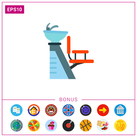 Chair for washing hair with basin icon Illustration