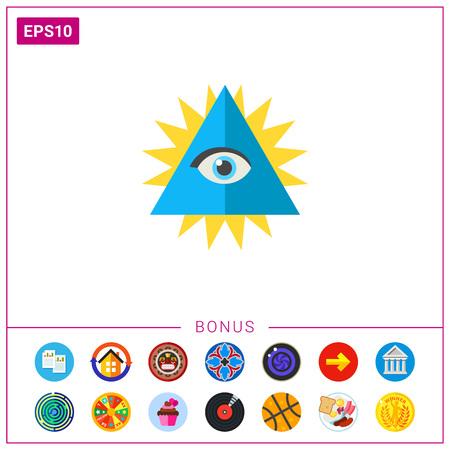 chakra energy: Chakra with eye in shining triangle icon Illustration