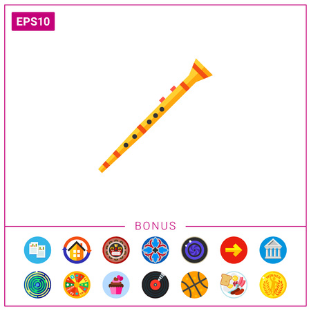Icon of clarinet musical instrument. Cylindrical tube, mouthpiece, melody. Music concept. Can be used for topics like performance, concert or sound