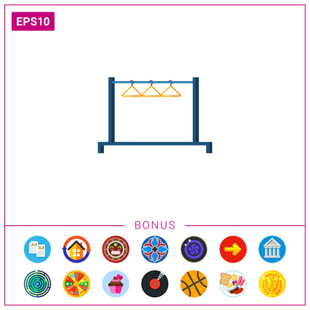 clothes rail: Clothing rail with hangers. Domestic, storage, comfortable. Furnishing concept. Can be used for topics like furniture, interior design, marketing. Illustration