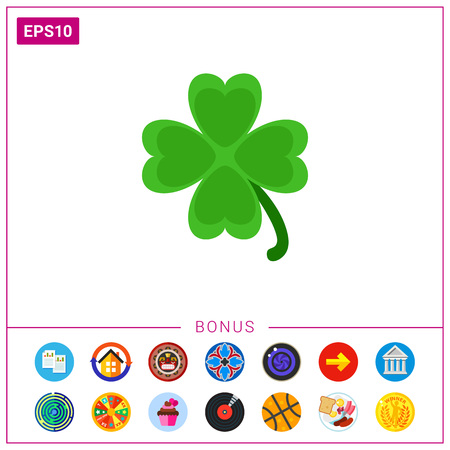 st  patrick's day: Vector icon of clover leaf. Shamrock, St. Patricks day, symbol of Ireland. Ireland concept. Can be used for topics like holidays, national symbols, national culture