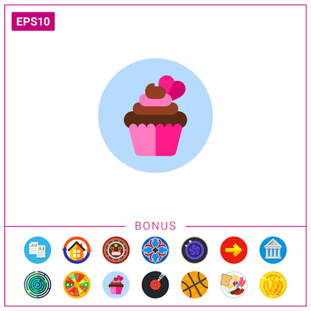 Cupcake with Heart Icon
