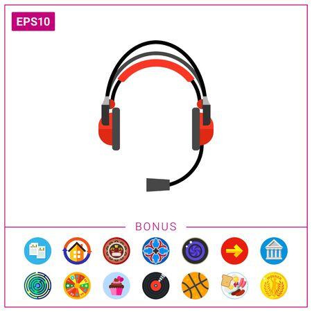 Earphones headset icon