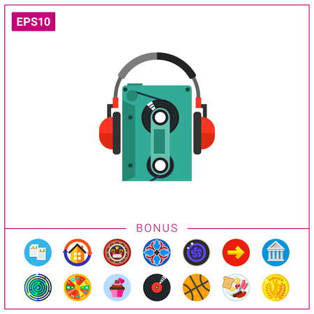 cd recorder: Earphones with cassette player icon