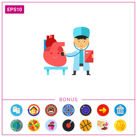 Doctor checking heart icon Illustration