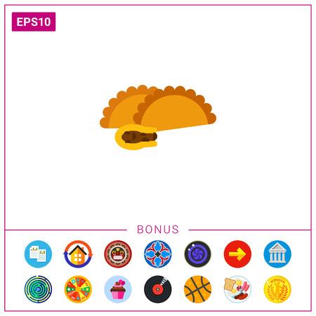 Empanada with meat vector icon Illustration
