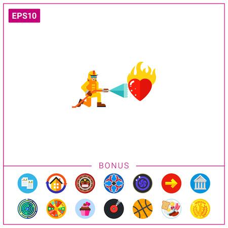 Fireman Extinguishing Burning Heart Icon