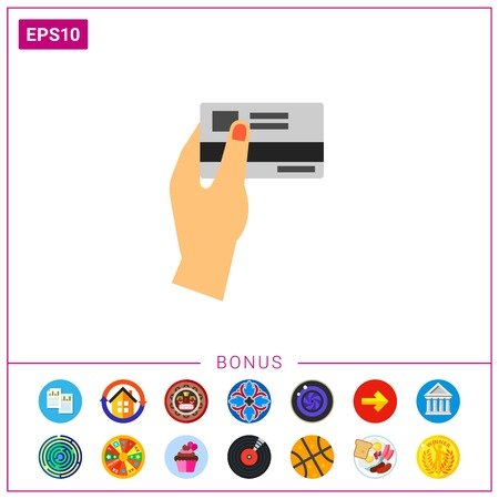 Female hand holding discount card icon Illustration
