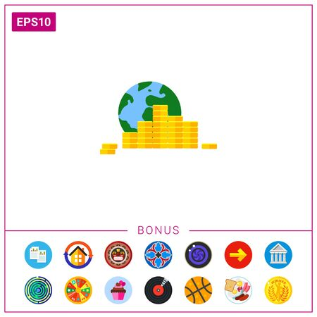 remittance: Globe and Coin Stacks Icon Illustration