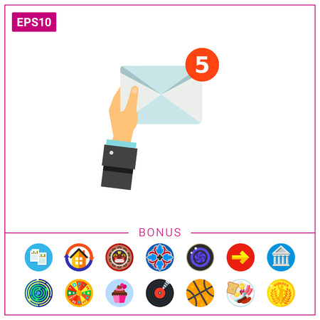 Hand and Mail Vector Icon