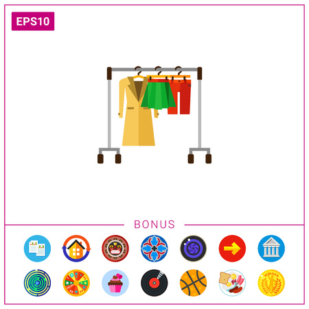 Hanger rack with warm women clothes icon