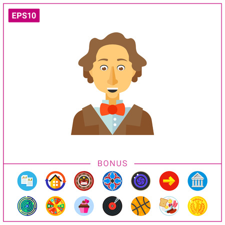 poet: Hans Christian Andersen icon Illustration