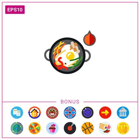 heated: Hot bibimbap in cooking pan icon