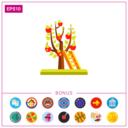 Ladder at apple tree icon Illustration