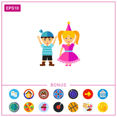 Little boy and girl in carnival costumes icon
