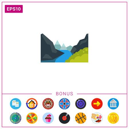 Majestic Geiranger fjord icon Ilustração