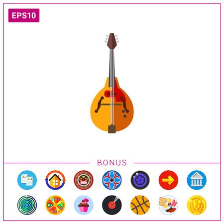 Mandolin musical instrument icon Illustration