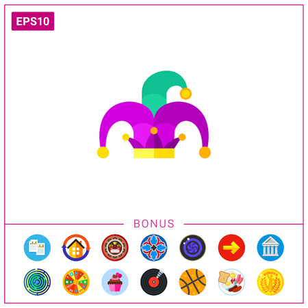 Mardi Gras jester hat icon Illustration