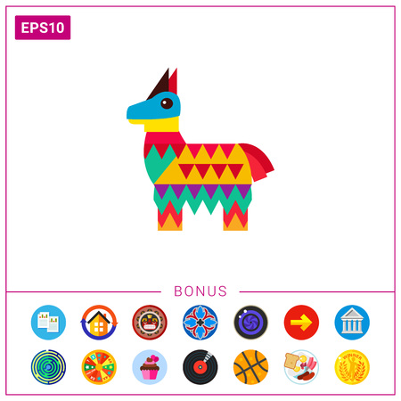 pinata: Mexican pinata in shape of horse icon Illustration