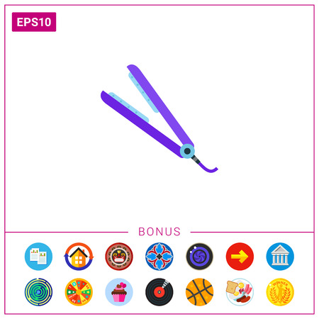 Purple hair straightening iron vector icon