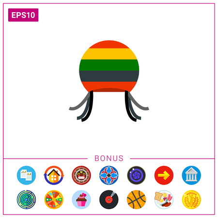 subculture: Rastafarian hat with dreadful locks icon Illustration