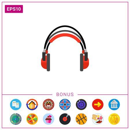 portable audio: Red headphones icon
