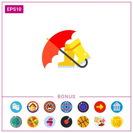 Red umbrella and boots icon Illustration