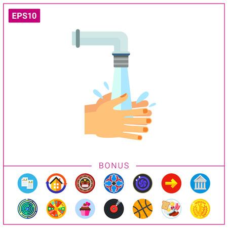 Hände werden mit Wasser unter fließendem Wasser abgespült. Sauber, nass, Gewohnheit. Waschen der Hände Konzept. Kann für Themen wie Hygiene, Gesundheit, Gesundheitswesen verwendet werden.