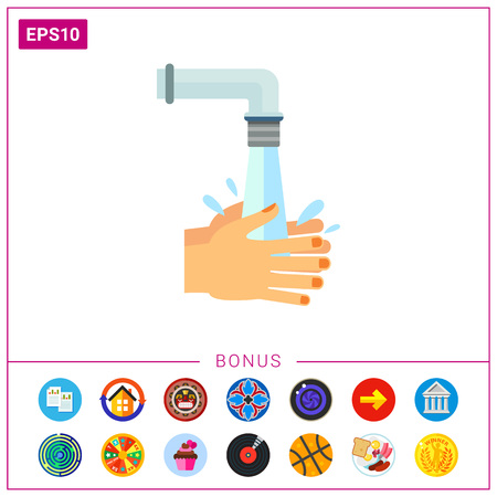 Hands being rinsed with water under tap. Clean, wet, habit. Washing hands concept. Can be used for topics like hygiene, health, healthcare.