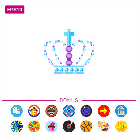 Vector icon of royal crown in gems with cross. Royal symbol, royal accessory, jewelry. Gems concept. Can be used for topics like luxury, monarchy, treasure Illustration