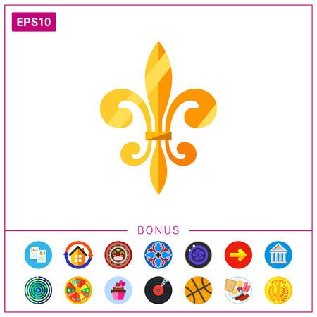 ゴールデン ロイヤル フランス ユリ アイコン。フランスの中世王国王室の紋章。フランスの歴史概念。歴史、王朝フランスのようにトピックを使用  イラスト・ベクター素材
