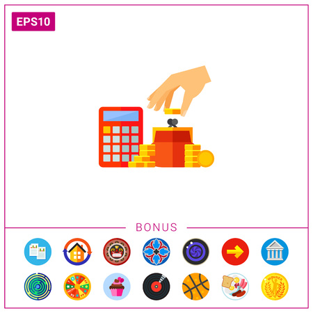 Vector icon of human hand putting coins into purse and calculator. Saving money, profit, home finance. Sales concept. Illustration