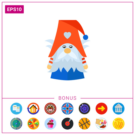 fairy: Vector icon of cute Scandinavian nisse with beard wearing cap. Dwarf, elf, folklore. Denmark concept.