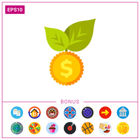 Illustration of coin with leaves. Seed money, finance, currency, growth. Economics concept.