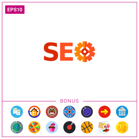 Icon of inscription seo where letter O looking like mechanism. Marketing, Internet, optimization.