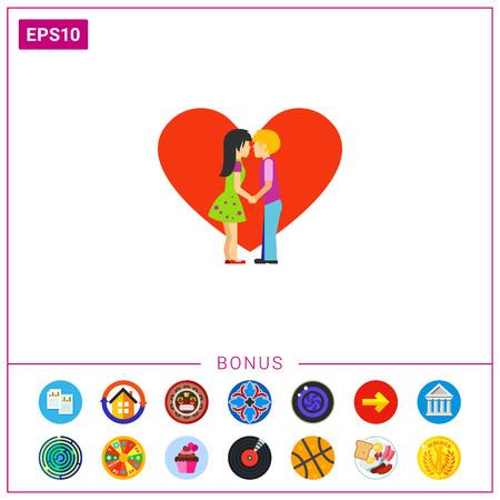 innamorati che si baciano: Silhouette di baciare icone vettoriali di persone