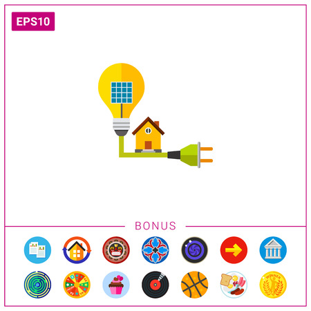 icon of leaves around solar energy panel alternative energy  icon of house on cable and light bulb symbolizing solar energy alternative energy ecology