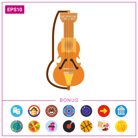 playing folk: Vector icon of suka. Polish music, musical instrument, Polish culture. Poland concept. Can be used for topics like musical instrument, music, national culture