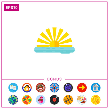 seacoast: Sun rising over waterline. Vacations, seacoast, summer resort. Summer concept. Can be used for topics like travel, summer vacations, weather forecast